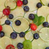 imagen de limón, arándanos y escaramujo ecológicos